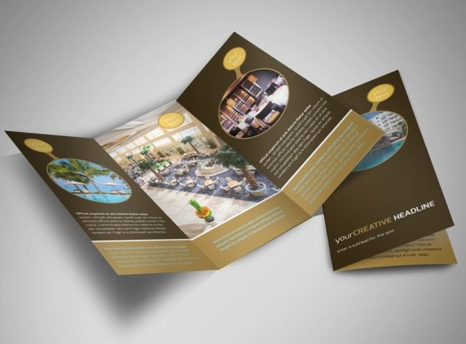 Luxury Hotel TriFold Brochure Template 언니오빠 Pinterest - Hotel brochure template