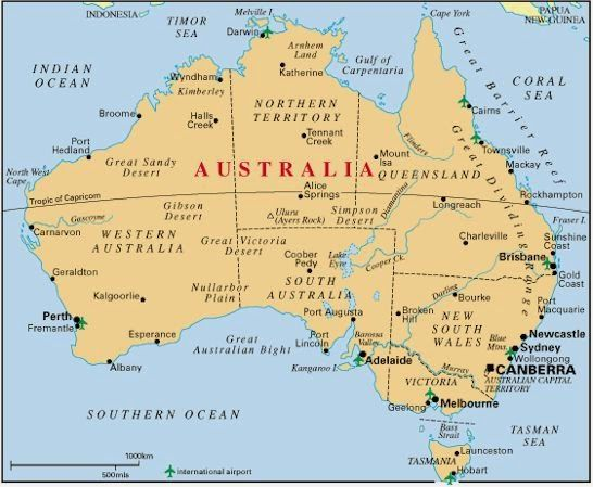 Printable Maps of Australia with cities, towns, and other ...