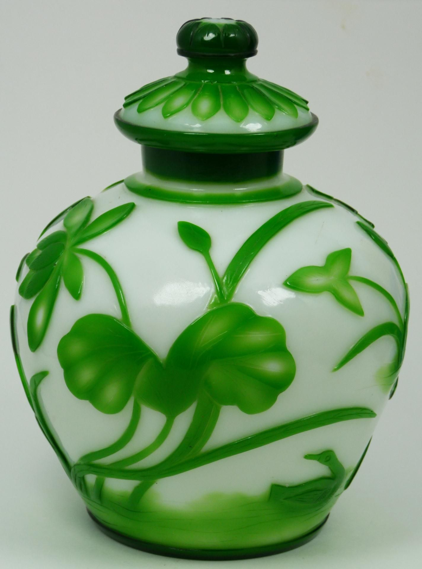 Chinese Antique Ching Dynasty White And Green Peking Gl Covered Ginger Jar With Raised Fl Duck Designs Throughout Exterior
