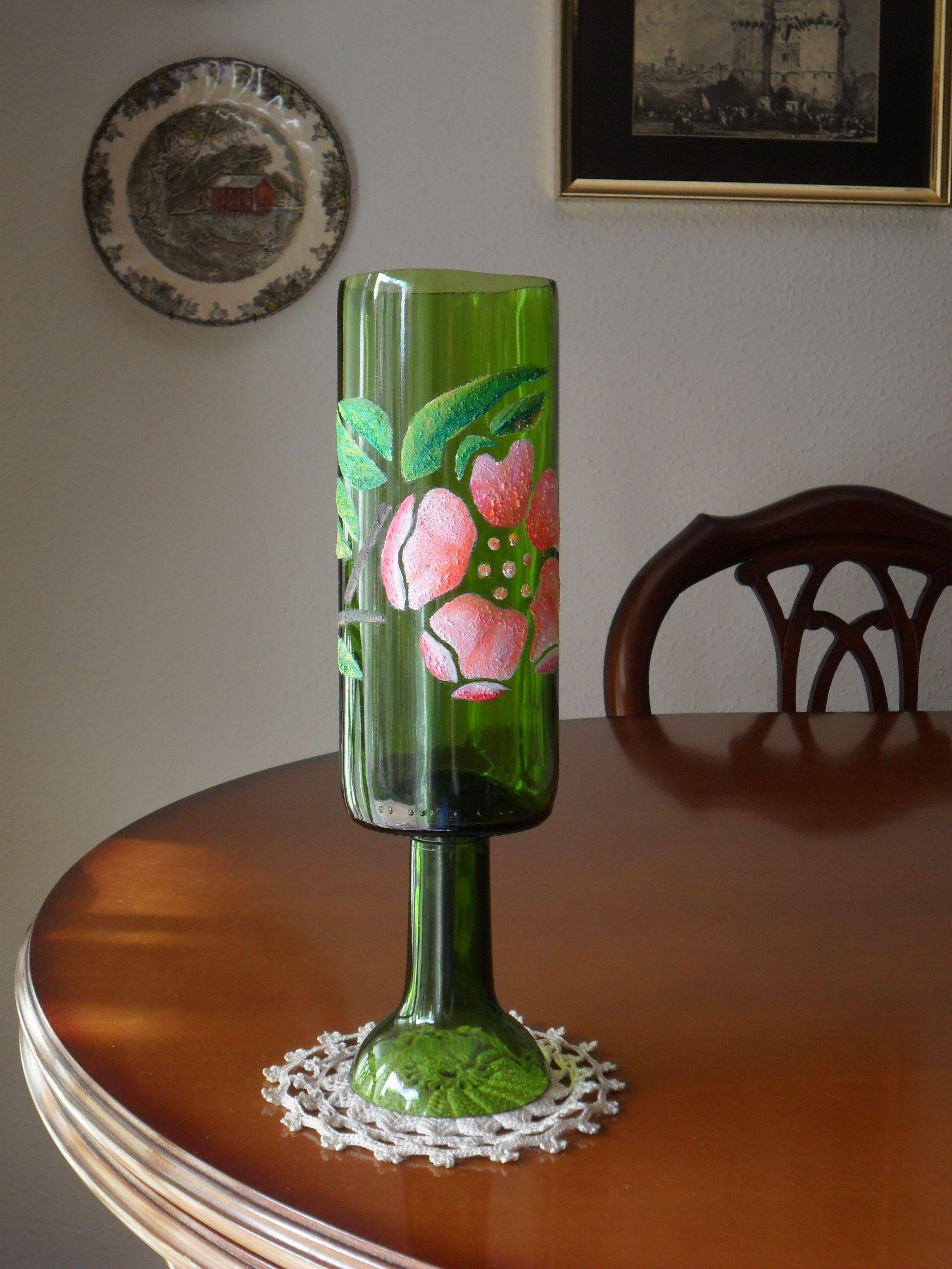 Botella cortada y decorada para usarla como jarr n - Botellas de plastico decoradas ...