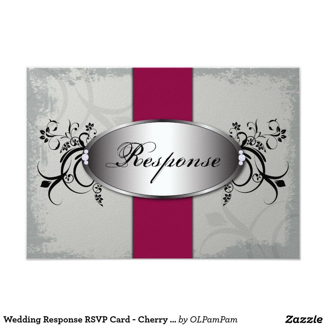 wedding response rsvp card  cherry red slate gray