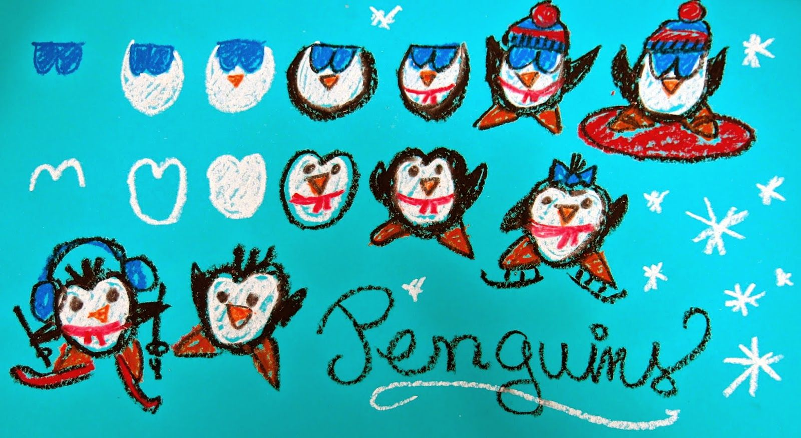 Cassie Stephens: Penguin drawing art club class lesson project ...