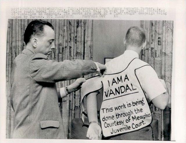 1965 juvenile vandalism vest punishment, Memphis, Tenn. by ⓑⓘⓡⓒⓗ from memphis, via Flickr