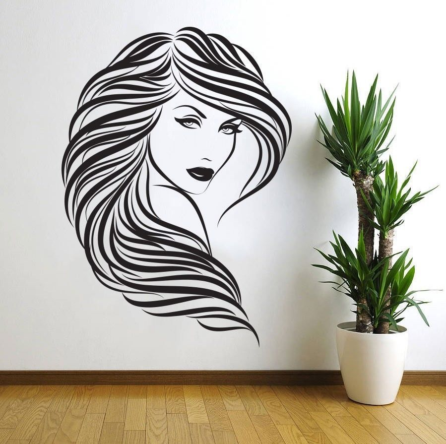 Free shipping sexy girl vinyl wall decal beauty salon hair for Decoration ethnique