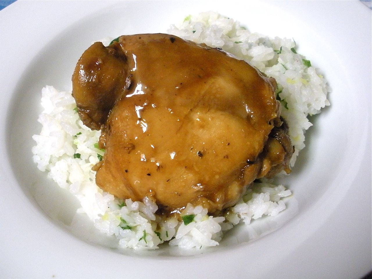 Chicken adobo with coconut ginger rice adobo chicken