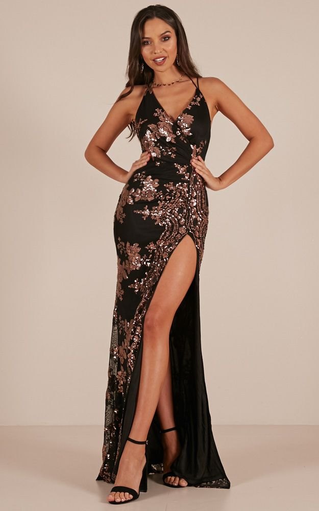 c022cfdffa First Dance Maxi Dress In Black Rose Gold Sequin Produced