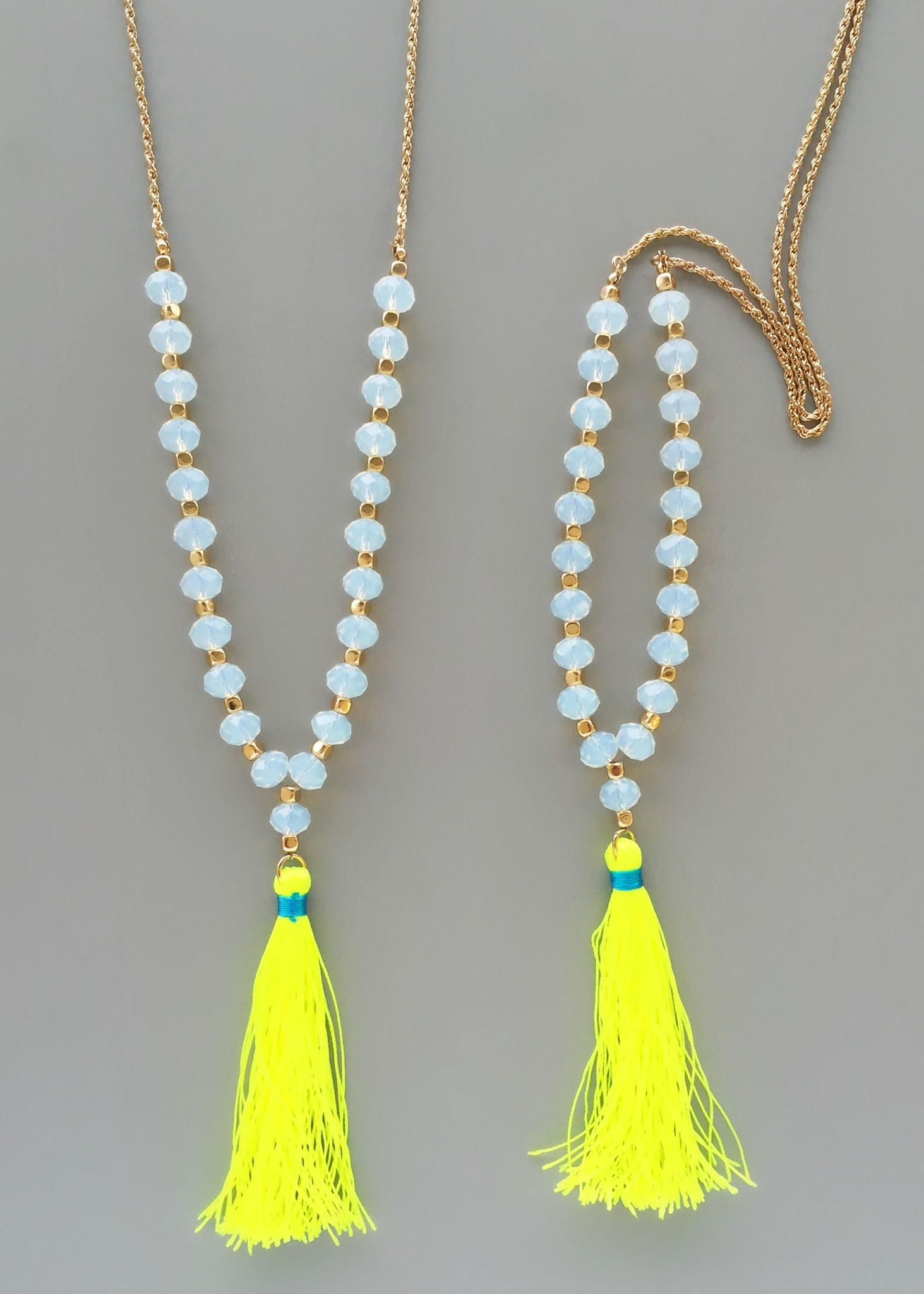 yellow neon beaded tassel necklace from pree brulee saved. Black Bedroom Furniture Sets. Home Design Ideas