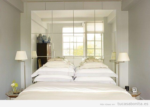 ideas decorar habitacion matrimonio pequea panel espejojpg - Amueblar Habitacion Pequea