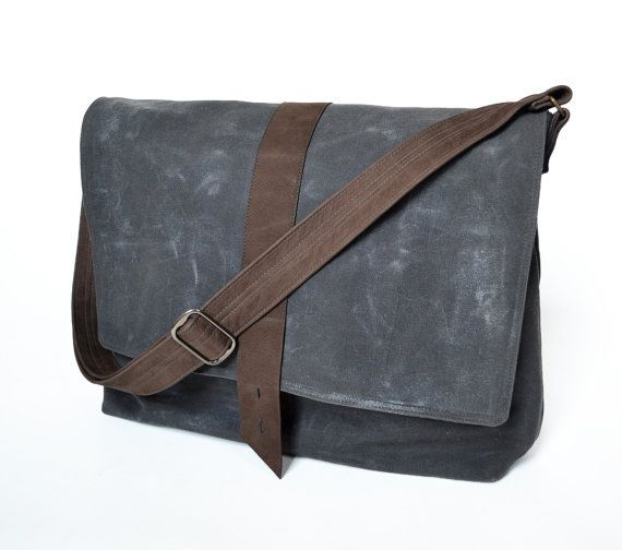 ddcf80af2 Classic, minimalist style in Charcoal Grey + Chocolate Brown. The Sloane Waxed  Canvas Messenger.