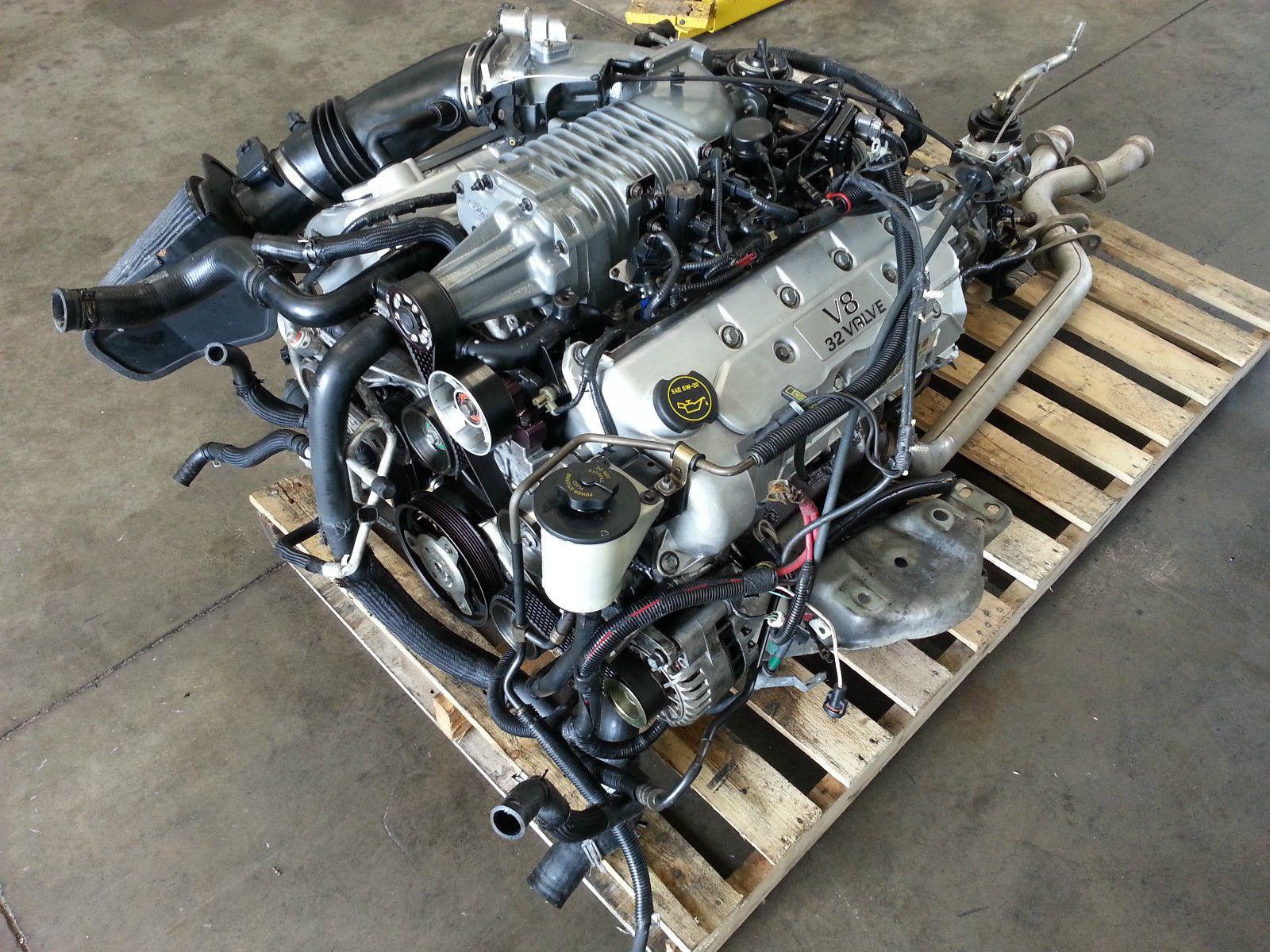 small resolution of 2003 2004 mustang cobra 4 6 v8 engine t56 transmission dohc supercharged motor ebay