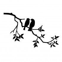 twee vogels op tak muursticker raamsticker met