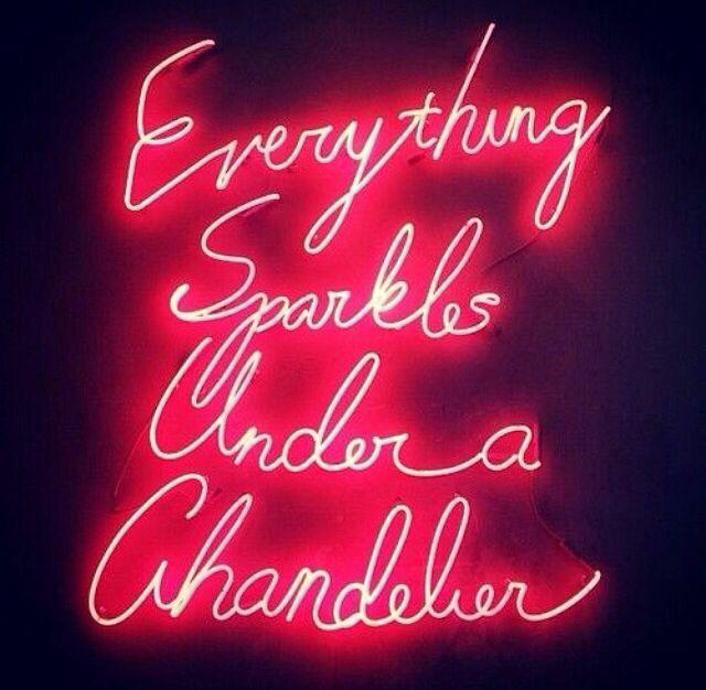 Everything sparkles under a chandelier #neon | neon lights ...