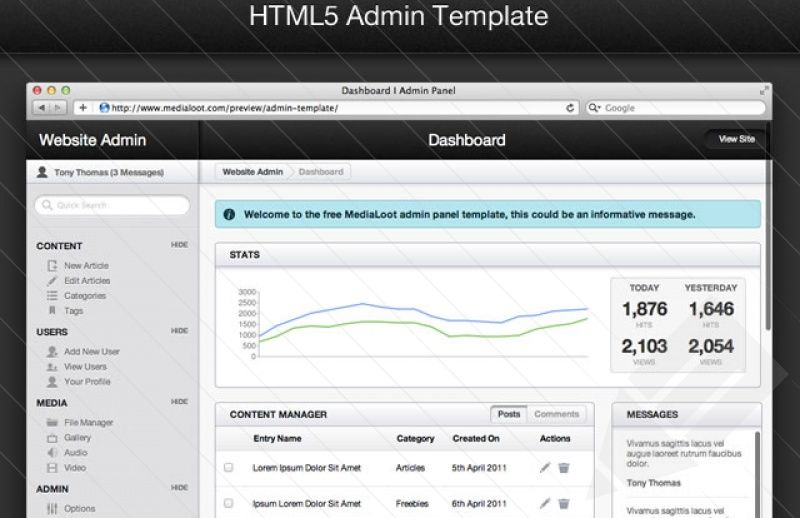 Free Html5 Admin Template Geeks And Developerns Resources