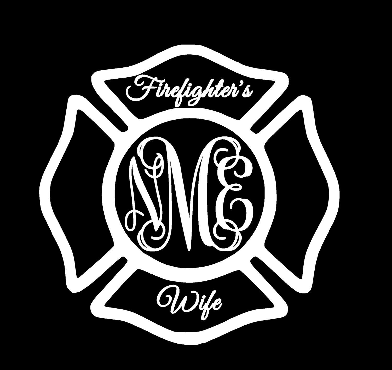 Firefighters wife monogram initials decal maltese cross fireman firefighters wife monogram initials decal maltese cross fireman decal fire department decal biocorpaavc