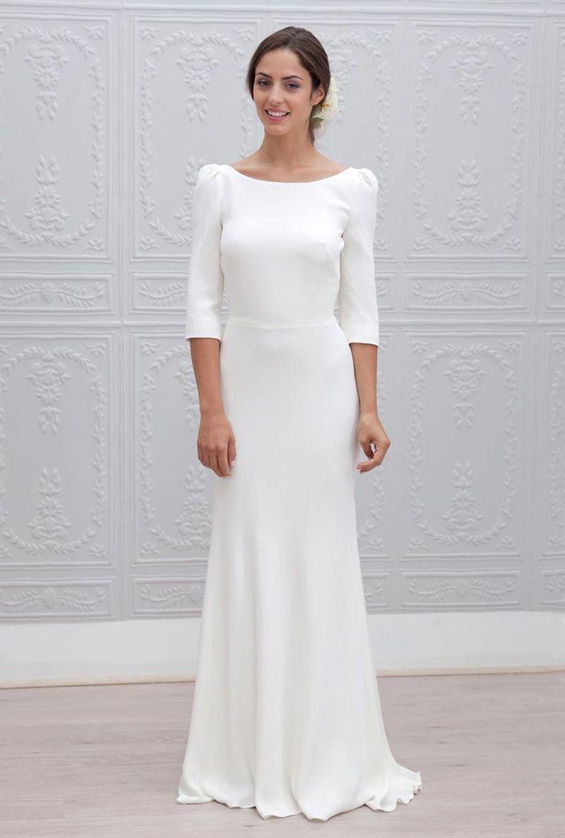 Simple Designers Three Quarter Sleeve Floor Length Robe De Soiree Longue White Bridesmaid Dresses Long Long Bridesmaid Dresses Bridesmaid Dresses With Sleeves