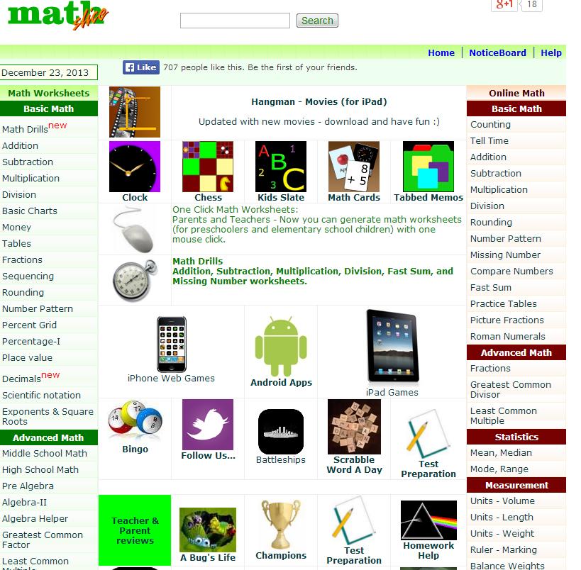 Free Math Worksheets Mathslice Math Websites Websites For Students Math Blog