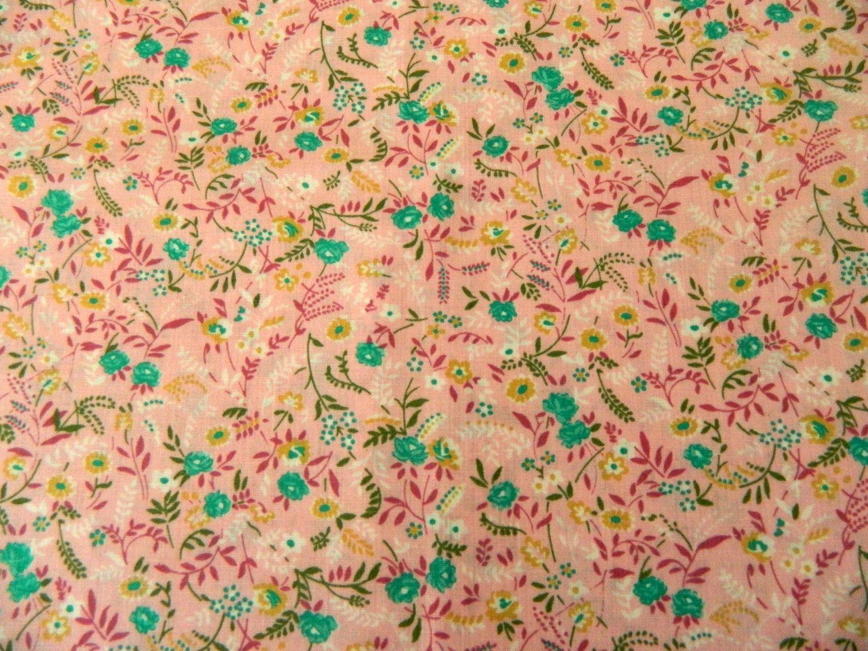 Vintage Floral Print Vintage 70s Small Floral Print Fabric Tickled 2 Yards