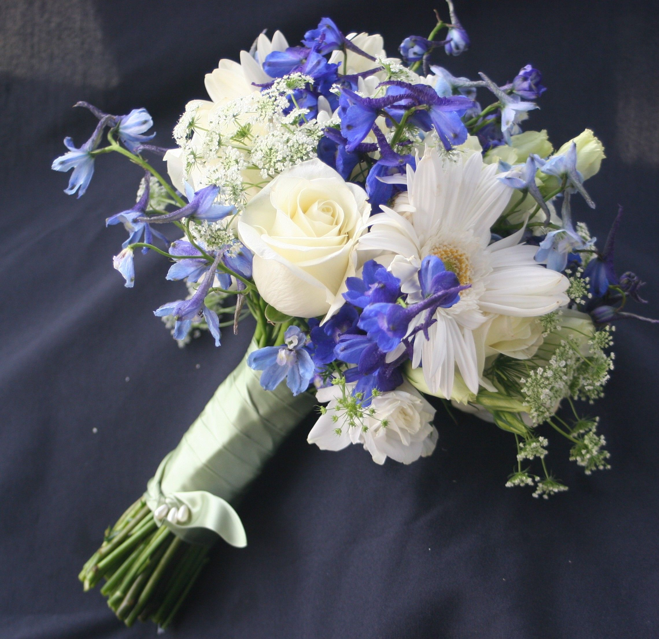 Image detail for white roses white gerber daisies blue for Flower arrangements with delphinium