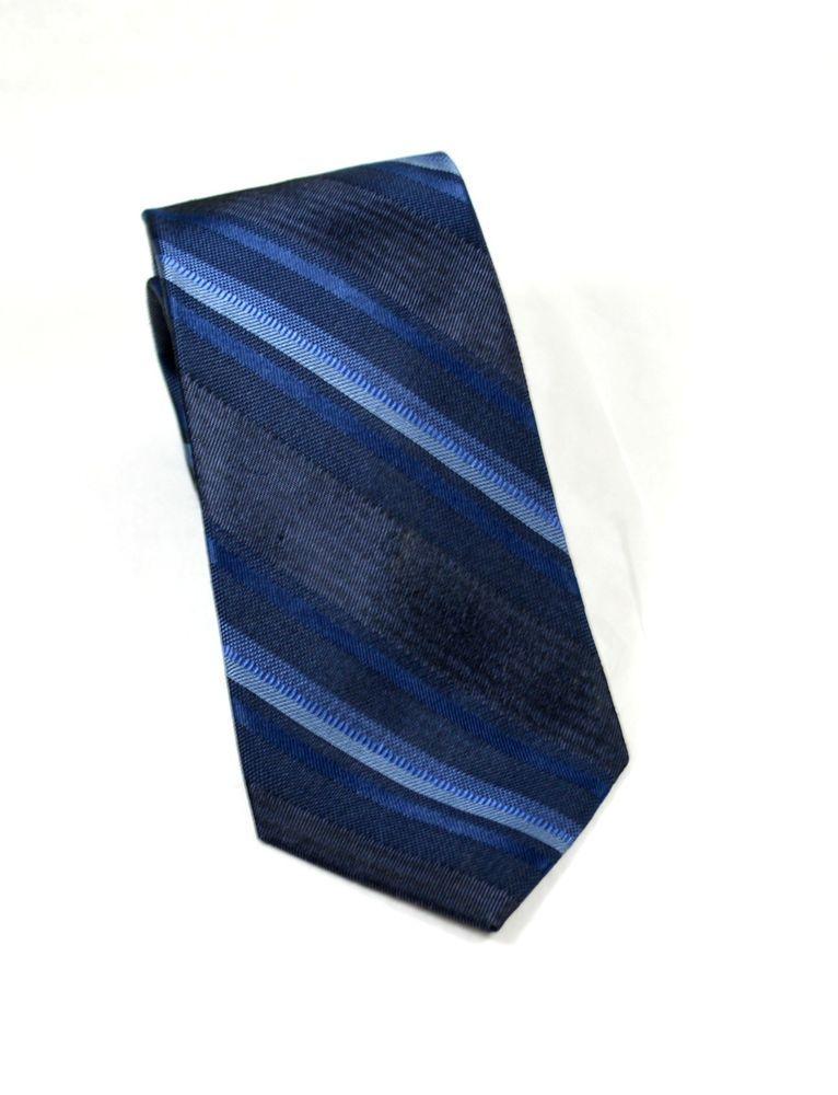 """Calvin Klein Men's Necktie 3"""" x 58"""" Midnight Blue Striped Silk Neck Tie Neckwear #CalvinKlein #NecktieNeckTie"""