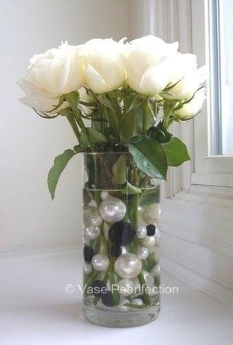 120 No Hole Black & White Pearls with Matching Gems Accents-Jumbo/Assorted Sizes Vase Decorations and Table Scatters #bodenvasedekorieren