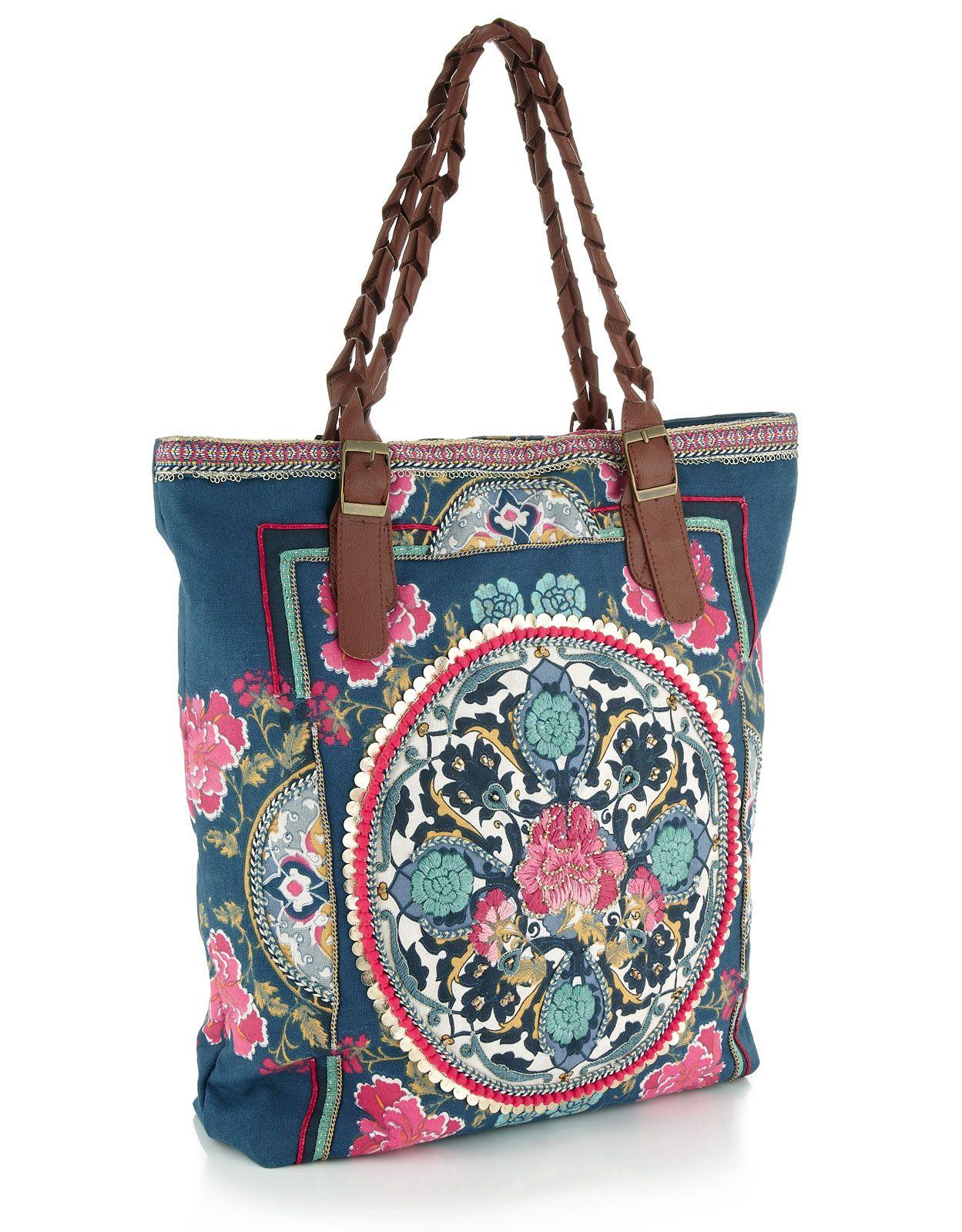 e10d699c8ffb accessorize embroidered tote bag | fashion | Floral tote bags ...