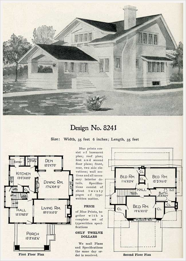 Radford S 1909 Cement Houses Prairie School Influenced Ribbon Windows Model 8241 Cement House Vintage House Plans House Plans