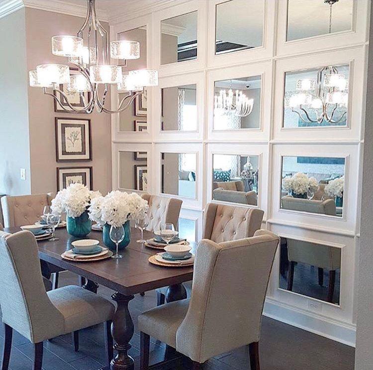 Mirror wall option | Dining room small, Farmhouse dining room