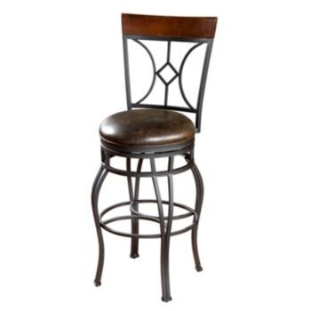 AHB Starletta Swivel Bar Stool   Graphite With Tobacco Leather   A Sturdy  Wrought Iron Base In Bold Graphite Finish Is Softened By The Tobacco  Leather Seat ...