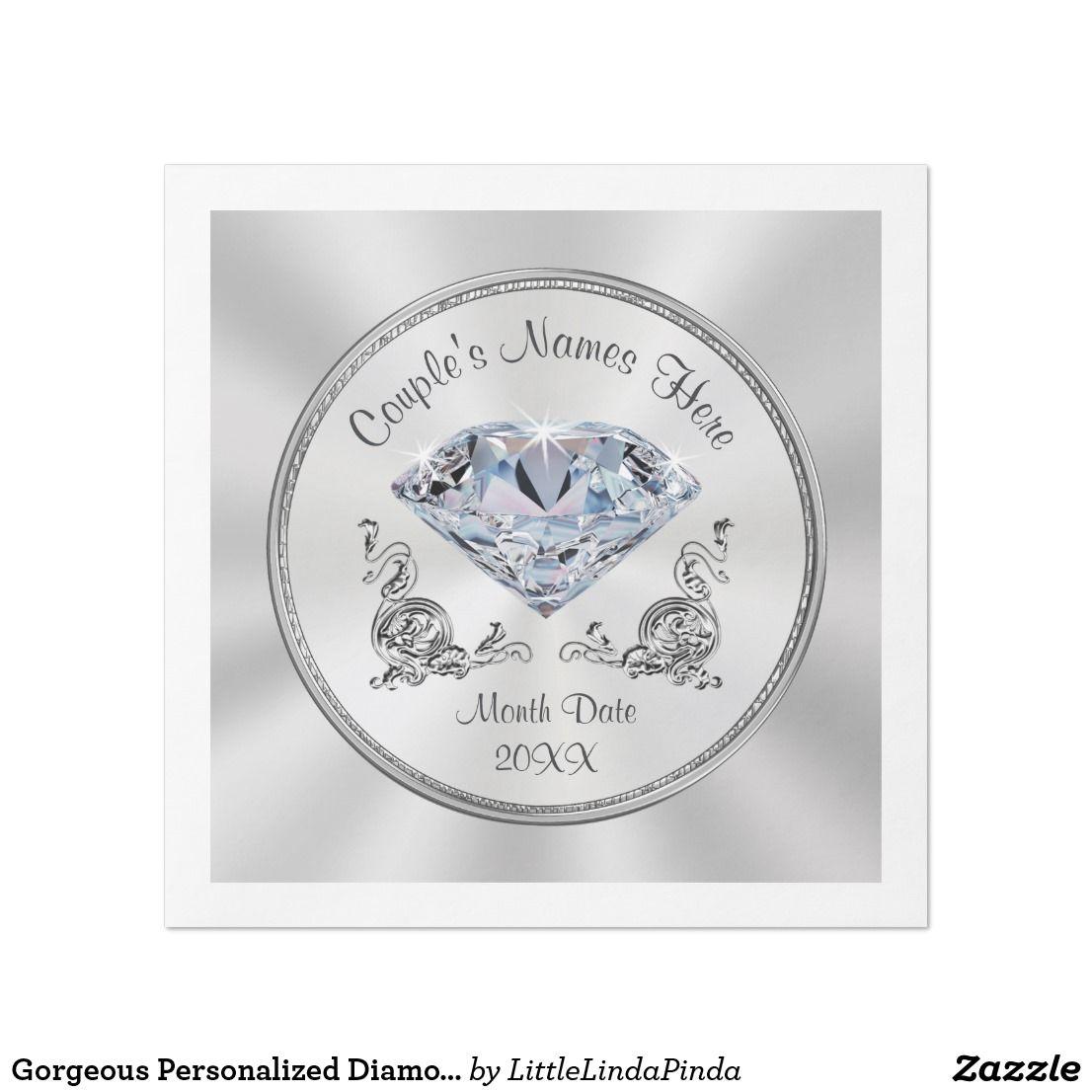 Gorgeous Personalized Diamond Napkins | Themed weddings and Diamond ...
