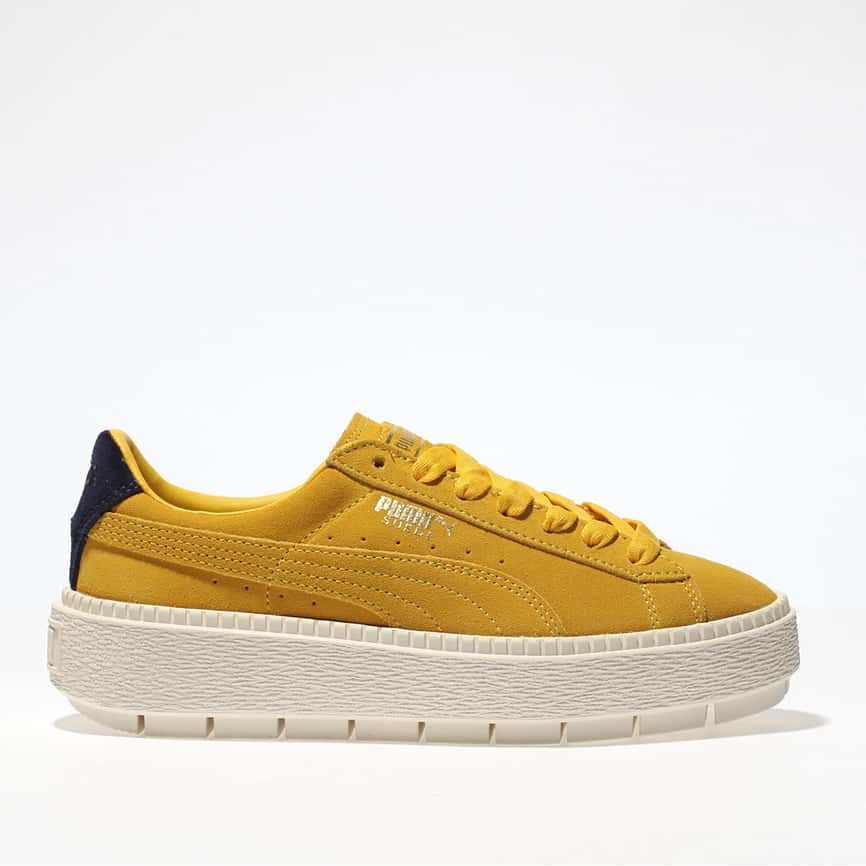womens blue & yellow puma trace suede platform trainers