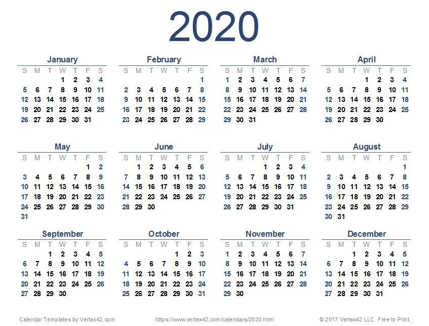 Excellent Totally Free 2020 Calendar Yearly Concepts Printable