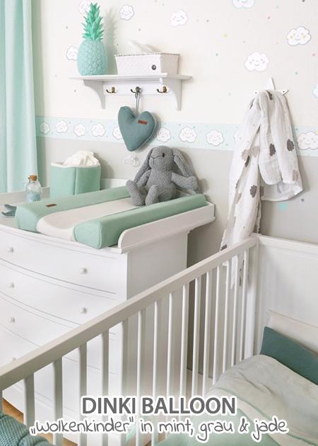 Dinki Balloon Babyzimmer Wolkenkinder Mint Jade Grau Bei