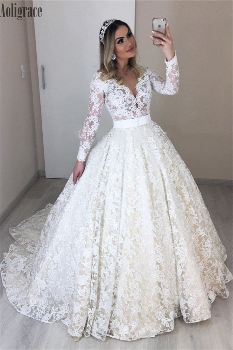 Full Lace Wedding Dresses For Bride V Neck Illusion Long Sleeves ...