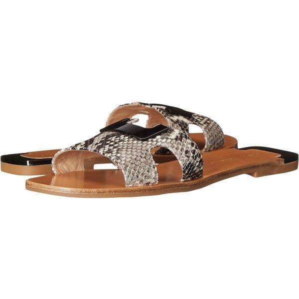 Diane von Furstenberg Marrakesh (Natural Python Print) Women's Shoes ($135) ❤ liked on Polyvore featuring shoes, sandals, multi, diane von furstenberg shoes, snake print shoes, slide sandals, synthetic shoes and diane von furstenberg
