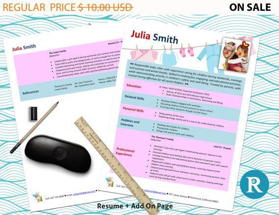 Babysitter Resume Babysitter Photo Resume Template  Resume Design  Cv Template