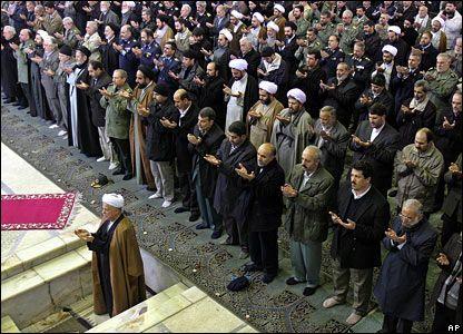 Former Iranian President Akbar Hashemi Rafsanjani leads prayers in Tehran