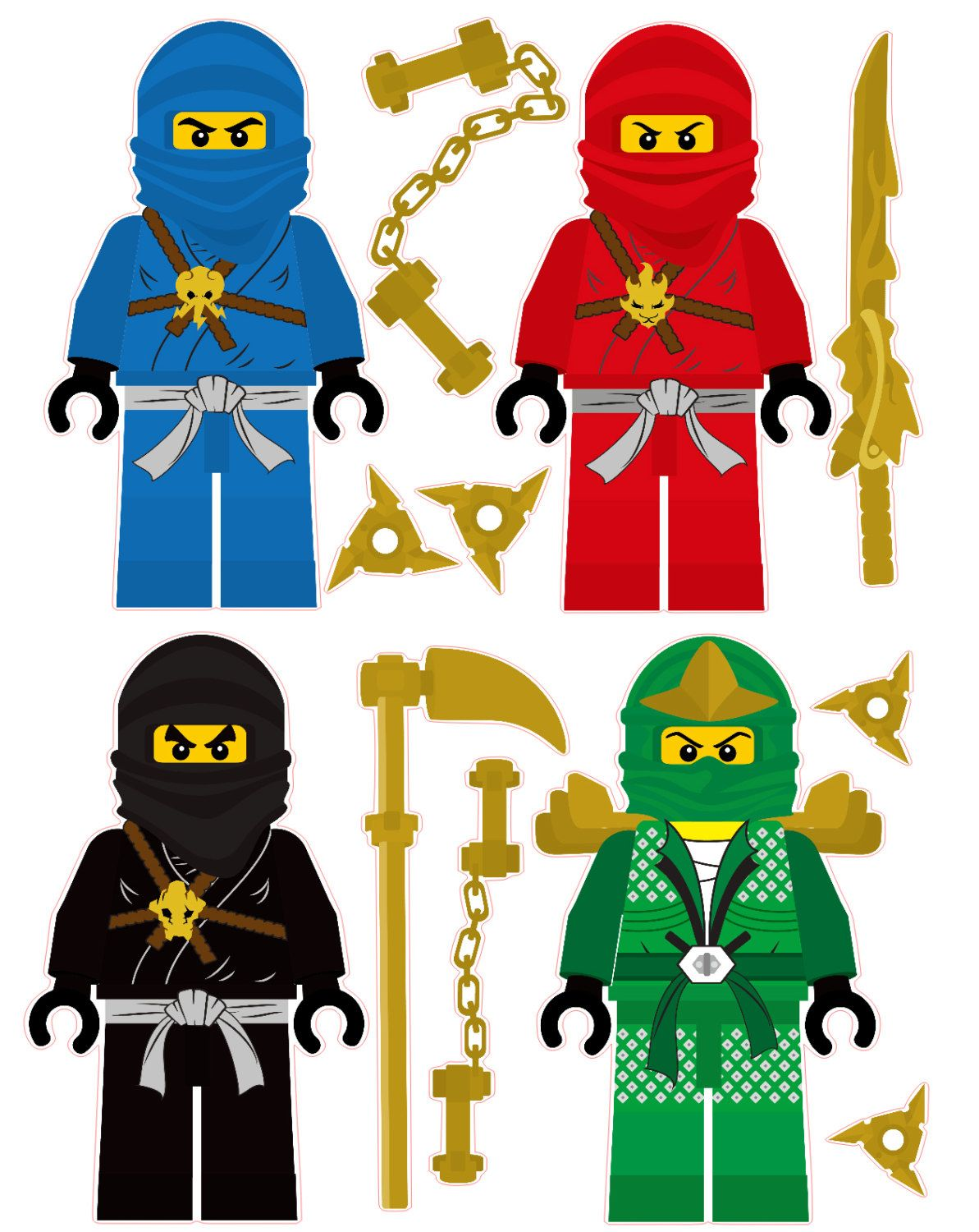 Lego Ninjago Ninjas Removable Wall Stickers Set With Free - How to make homemade lego decals