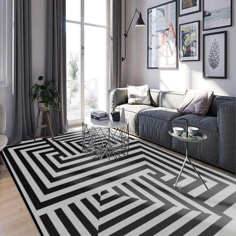 Black Area Rug In Living Room Decor Us 10 29 Off Black White Geometric Living Room Carpet Nordic Living Room Carpet Geometric Living Room Rugs In Living Room