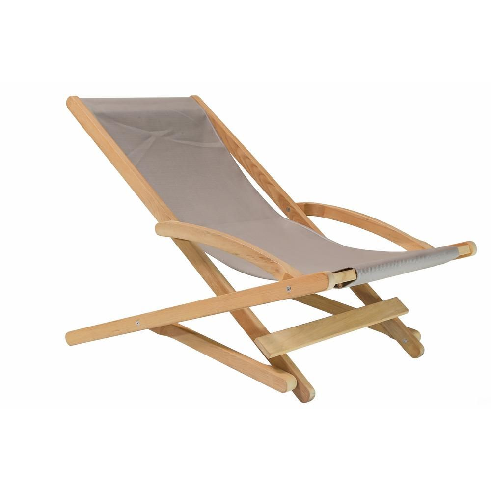 Hiteak Furniture Stella Folding Teak Outdoor Lounge Chair In Taupe Textilene Fabric Folding Lounge Chair Relaxing Chair Lounge Chair Outdoor