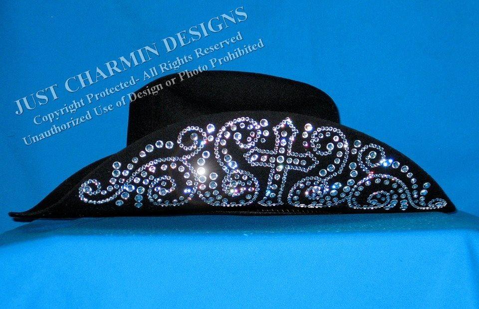 cb480df080e Just Charmin  Designs - Rhinestone Cross Black Felt Cowboy Hat ...