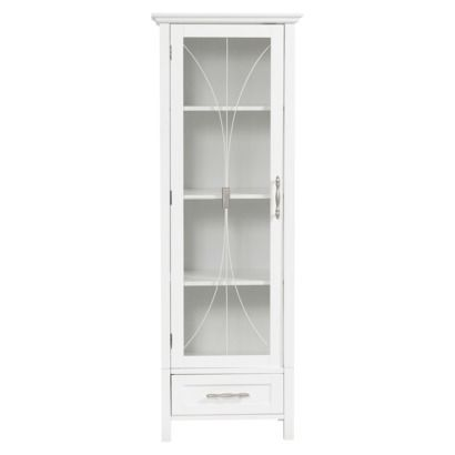 Symphony Linen Cabinet White A Bit Shorter With Glass Front Door