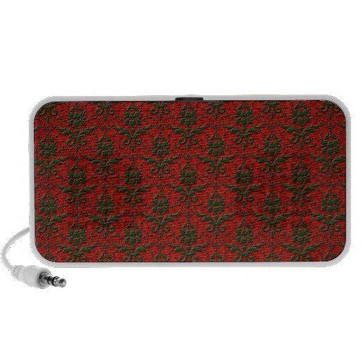 Red & Green Christmas Damask Speaker System