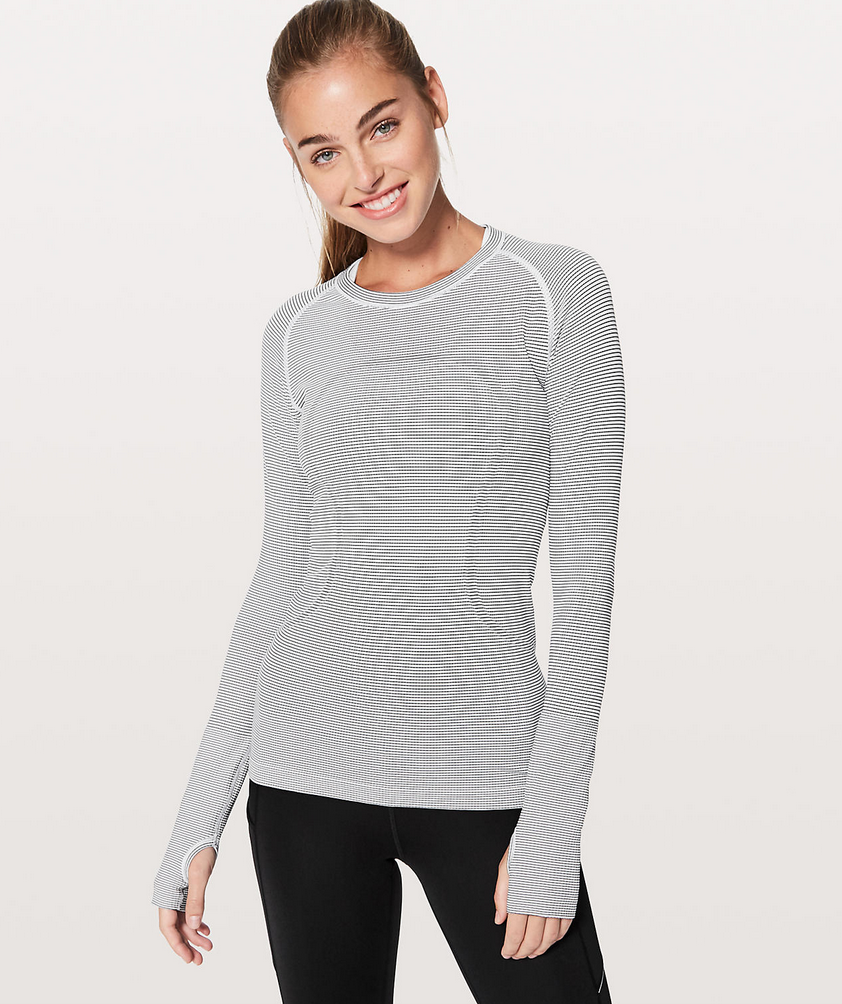 22ff1c20322f0 white white black swiftly tech long sleeve - size 8  lululemon ...