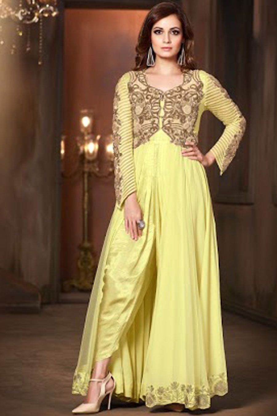 30e6502365f3 Yellow Pure Chiffon Semi Stitch Designer Dress | Designer Dress ...