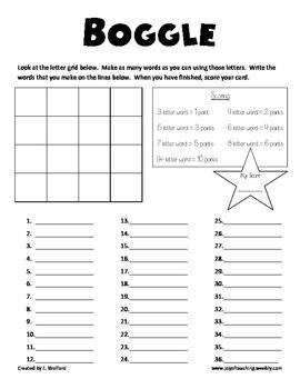 boggle printables grade 1 school worksheets board games for kids spelling worksheets. Black Bedroom Furniture Sets. Home Design Ideas