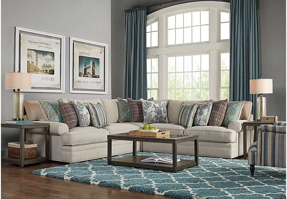 Cindy Crawford Home Lincoln Heights Stone 3 Pc Sectional Living Room Sets Beige Sectional Living Room Sets Living Room Sectional Couches Living Room
