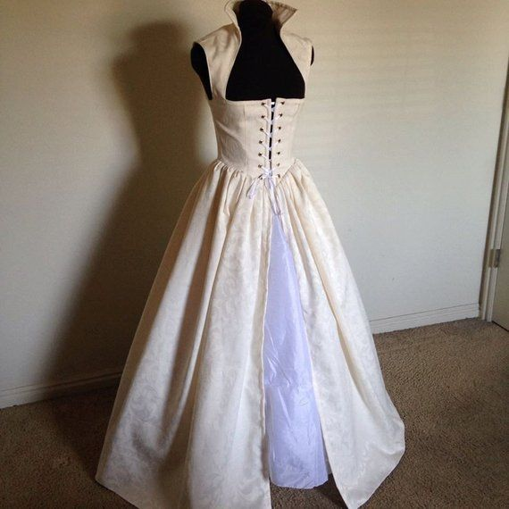 Off White Renaissance Wedding Irish Celtic Over Gown Dress Made To