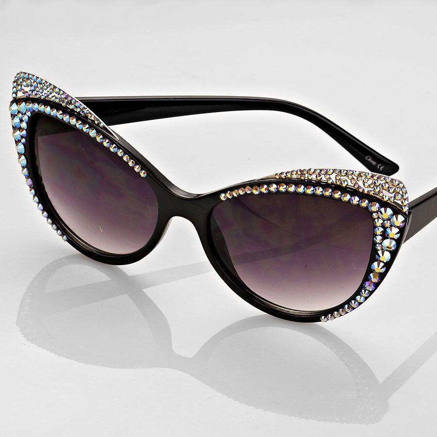 Cat Eye Crystal Detailed Oversized Tortoise Frame Sunglasses ...