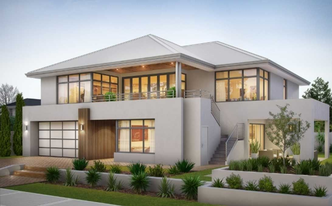 Two storey house plans with balcony with stainless steel for Double storey beach house designs