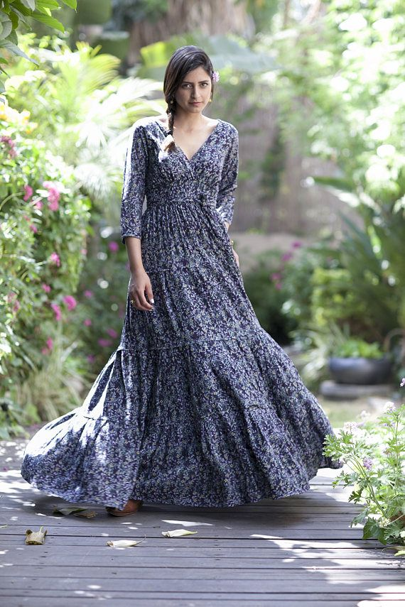 bc2d18b6c4bfe Long Sleeves Maxi Dress, Hippie Conservative Evening Spring Dress ...